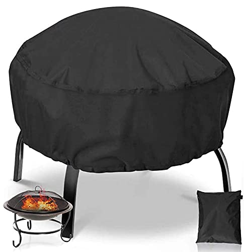 Fire Pit Cover with Drawstring and Toggle Closure, 32 Inch Heavy Duty Outdoor Fire Pit Cover, Full Coverage Patio Outdoor Fireplace Cover Fire Bowl Cover Waterproof, Dustproof and Anti UV