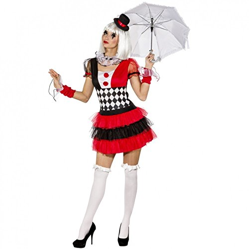 Disfraz de Pierrot Talla 34  44 para mujer, vestido de circo, artista, payaso, carnaval (34/36)