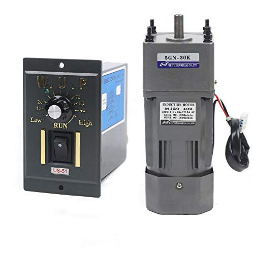 110V 120W Ac Gear Motor Electric Single-phase Motor Gear Motor 0-45RPM Electric Variable Speed Adjustable Controller Governor Geared Motor and Adjustable Speed Controller Combo (Reduction ratio:1:30)