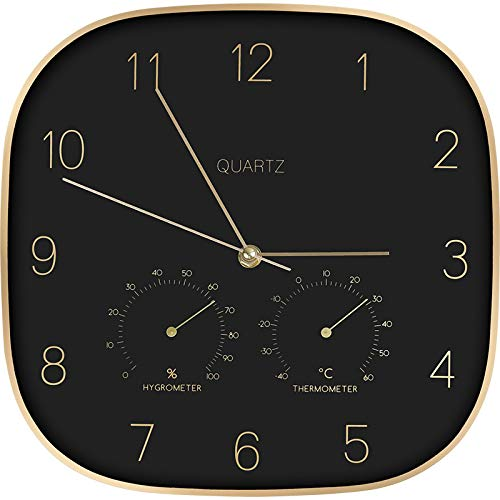 TRSMXYW Wall Clocks for Living Room 12 Inch Home Creative Metal Case Black European Style with Thermometer Hygrometer Home Decor Silent Design Beautiful and Durable Best Gift