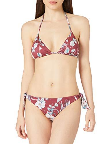 Emporio Armani Swimwear Womens Triangle Rem.Cups & Brazilian W/Bows Tropical Garden Bikini Set, Clay Flower Print, XL