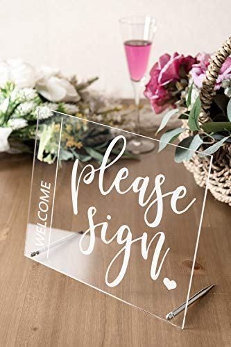 """Wedding Sign Guest Book Table Sign - 'Please Sign' Acrylic Rustic Wedding Display 10""""x8"""" Party & Event Supply Table Decoration for Reception, Centerpiece"""