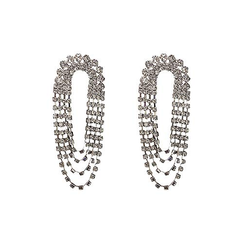 925 aguja de plata lleno de diamantes pendientes de aro geométricos temperamento borla larga personalidad pendientes pendientes de moda mujeres