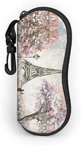 Retro Paris Eiffel Tower Sunglasses Soft Case Portable Ultra Light Eyeglasses Bag Multifunction product image