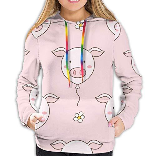 Vrouwen Hoodie Seamless patroon van schattige Pig Balloons and Daisy Flowers, Vector Illustratie, Doodle Style Sweatshirt