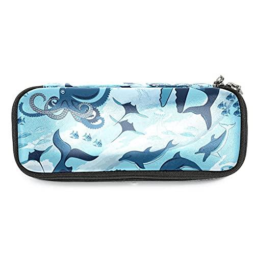 Estuche para lápices de pulpo de tiburón marino con forma de delfín de gran capacidad para rotuladores, bolsa organizadora para la escuela, oficina, adulto, niña y niño