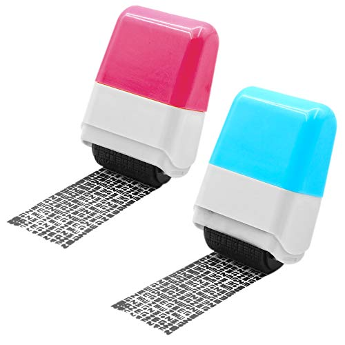 Identity Protection Roller Stamps,Identity Theft Protection Stamp for ID Blockout - Privacy Confidential and Address Blocker(Pink and Blue-2 Pcs)