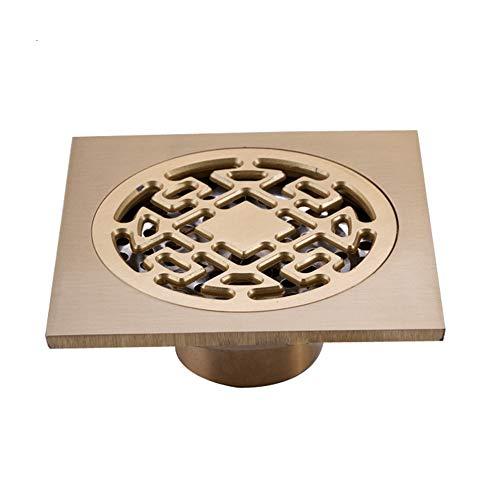 QuRRong Bodenablauf Komplette Kupfer Anti-Geruchs-Selbstdicht Bouncing Bodenablauf Badezimmer Küche Deodorant Komplette Kupfer für Hotel Badezimmer (Color : Gold, Size : ONE Size)