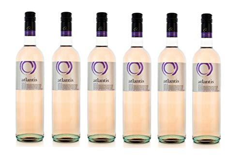 6x 750ml Atlantis Edel Rosewein trocken sommerfrisch Santorini Argyros griechischer Rose Wein Set + 2x 10ml Olivenöl von Kreta zum Test