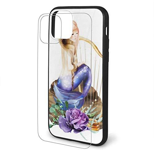 Diseño con Hermosa Acuarela Sirena Piedra sentada Compatible para iPhone 11 Estuche PC rígido + TPU Suave Protector a Prueba de Golpes Funda Delgada para teléfono Pro Max-iphone11-
