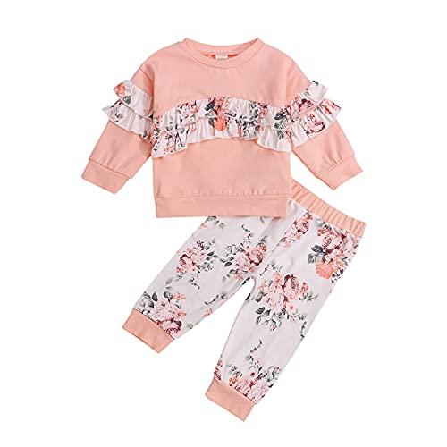 Baby-Kleidungs-Set für Mädchen, mit langen Ärmeln, Rüschen, Pullover, Blumendruck, Hose, 2-teiliges Set, rose, 6-12 Monate