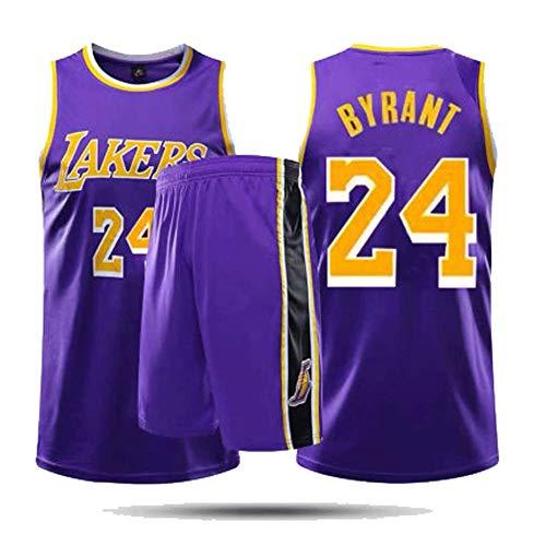 Trainingspak Basketbal Suit, paarse stijl, 24 Basketbal Fan Jersey voor mannen en vrouwen, ademend geborduurd Basketbal pak Retro Large Kleur