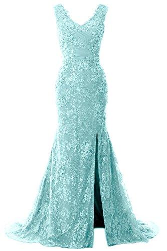 MACloth Women Mermaid Long Wedding Dresses V Neck Lace Evening Prom Gown (US26w, Aqua) (Apparel)