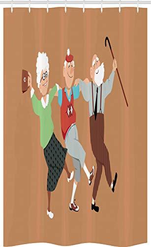 ABAKUHAUS Pensioen feestje Douchegordijn, Senior Sirtaki Dance, voor Douchecabine Stoffen Badkamer Decoratie Set met Ophangringen, 120 x 180 cm, Veelkleurig