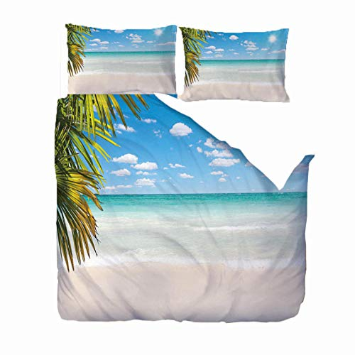 MEKVF Double Duvet Cover -220x230 Seaside scenery Super Soft Hypoallergenic 3 Piece 3D Printed Duvet Covers Double Bed Include Fitted Bed Sheet, 2 Pillow Case - All Season Bedding Set -