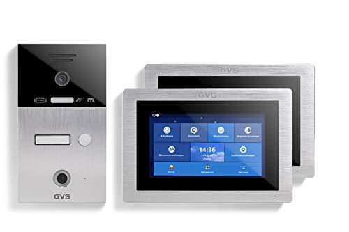 GVS AVS5103A - Videoportero de 4 cables/IP, IP65, RFID, Fingerprint, 2 monitores de 7 pulgadas, aplicación, cámara HD 120°, apertura de puerta, 32 GB de memoria, conmutador PoE, 1 juego familiar
