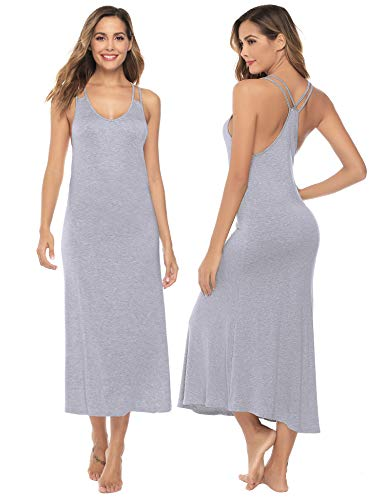 Sykooria Pijama Verano Mujer Corto Sexy Pijama Embarazada Tirantes Bata de Estar por Casa Camisón Premama Hospital Ligero y Suave Casual Camison Mujer Sexy Largos sin Mangas Gris S-XL