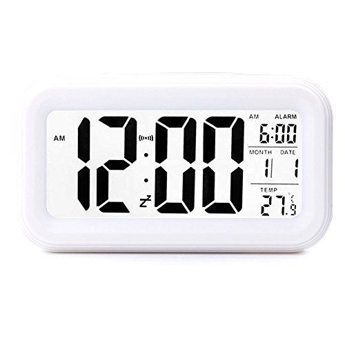 UNIAI Digital - Wecker, Elektronischen Bett Wecker Clever Reisen Batterie Uhr GroßE LCD - Kalender Temperaturanzeige Snooze Nachtlicht Stille FüR Kinder Im Schlafzimmer