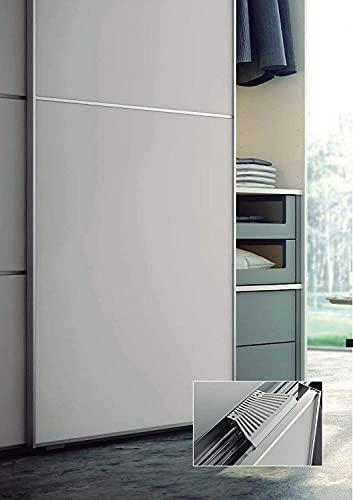 Kit de herramientas para puertas correderas, armarios, roperos, 2-3-4 puertas < 85 kg, freno suave apertura/cerraje... (4 puertas + kit de cortinas de puerta, negro)