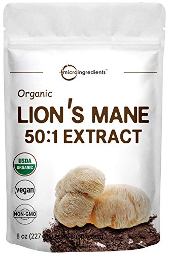 Sustainably US Grown, Organic Lions Mane Mushroom Powder (Lions Mane Supplements 50:1 Extract), 8 Ounce, Strongly Supports Mental Clarity, Focus, Memory, Nervous System & Immune System, Vegan