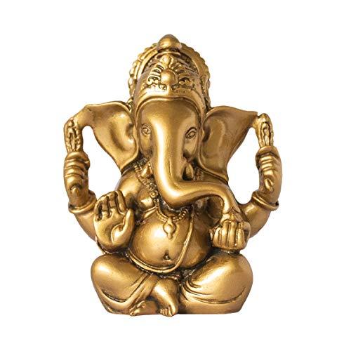 Addune Hindu God Lord Ganesha Idol Statue Indian Elephant Buddha Ganesh Sculpture Blessing Home Pooja Diwali Decor Good Luck (Gold)