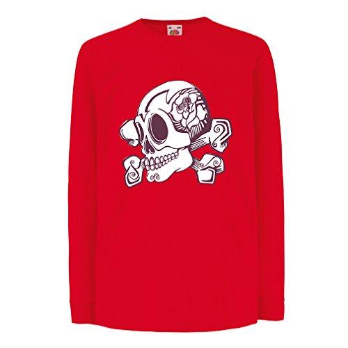 N4603D La Camiseta de los niños con Mangas largas Skull and Bones (3-4 Years Rojo Multicolor)