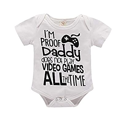 I'm Proof Daddy Does Not Play Video Games All The Time Baby Girls Boys Romper Bodysuit (White, 3-6 Months)