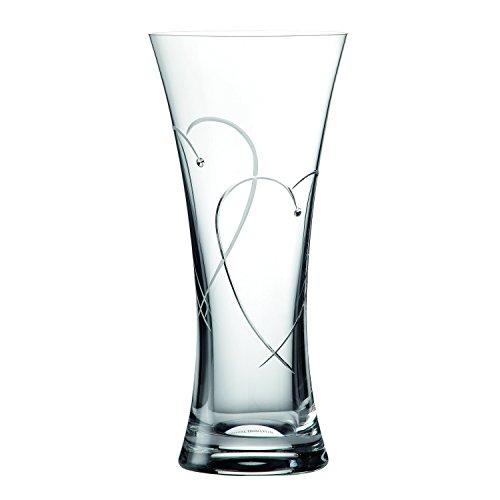 Royal Doulton 29 cm Cristal Diseño Transparente con Corazones en Caja jarrón, Transparente
