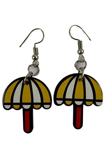 Ohrringe Ohrhänger Hänger Regenschirm Sonne Schirm gelb / weiß Comic 7627