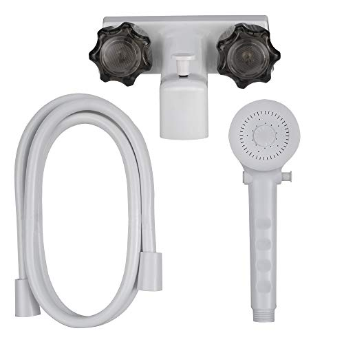 """RecPro 4"""" RV Tub and Shower Diverter Faucet White/Smoke with Handheld Shower Head & Hose"""