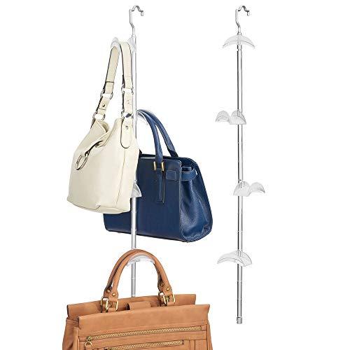 mDesign Juego de 2 percheros para bolsos – Colgador de bolsos vertical en aluminio y plástico – Organizadores de armarios con 4 ganchos para colgar bolsos, chales y cinturones – plateado y blanco