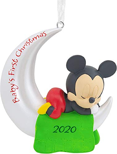2020 Hallmark Disney Minnie/Mickey Mouse Baby's First Christmas Ornaments or Baby's First Christmas Social Distance Quarantine Fun Christmas Ornament (Mickey Ornament for Boys)