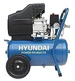 HYUNDAI Kompressor AC55801 (Druckluftkompressor mit 24 Liter Druckbehälter, ölgeschmiert, Betriebsdruck 8 bar, 1.5 kW (2.0 PS), 1 Schnellkupplung, Öl-/Wasserabscheider, Ansaugleistung 180 L/Min)