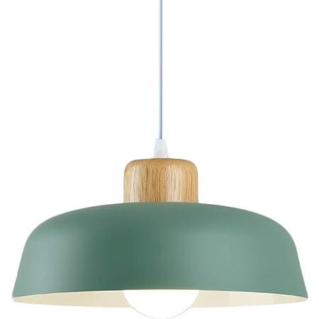HJXDtech Lampe à suspension en métal rond simple et moderne nordique , Grand plafonnier E27 finition bois , Lumière suspendue de couleur vive pour salon de chambre à coucher de cuisine (Vert)