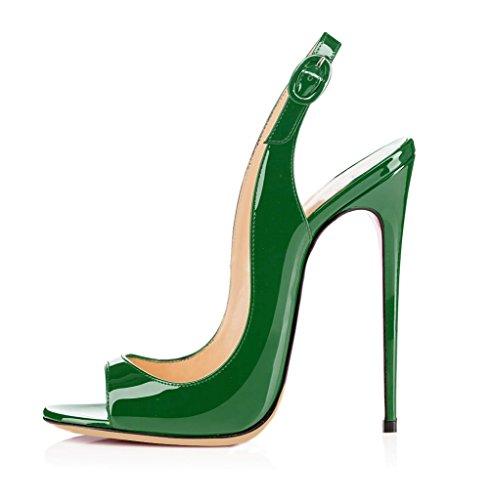 EDEFS - Scarpe da Donna - Tacco a Spillo - con Cinturino Dietro la Caviglia - Slingback Sandali - Verde - Taglia 43