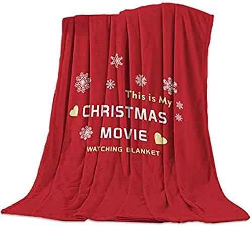Edredón de microfibra ligero y acogedor para mujer, suave, mullido, cálido para cama, sofá, esta es mi manta de ver películas de Navidad en rojo, 40 x 50 pulgadas