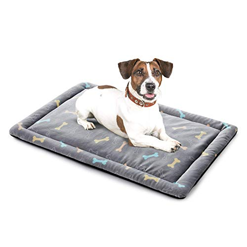 Allisandro Extra Softness Pet Dog Sleeping Kennel Bed Mat, Machine Washable Dryer Friendly and Non Slip Crate Mattress Cushion Pad Fluffy for Puppy Cat Kitten, Cute Grey Bone Design, 39 x 27 in