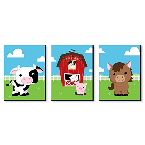 Big Dot of Happiness Farm Animals - Barnyard Nursery Wall Art and Kids Room Decorations - Gift Ideas - 7.5 x 10 inches - Set of 3 Prints