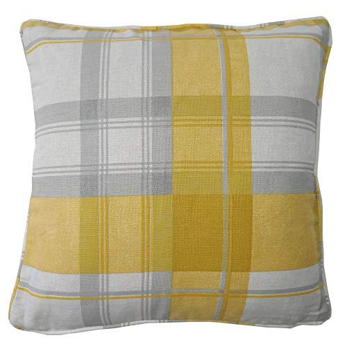 2x Plaid Check ocker gelb grau creme Baumwolle gefüllt 43,2cm Kissen