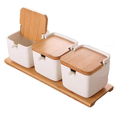 YLLAND Tarro de condimento, caja de condimento, botella de condimento, frasco de condimento, suministros de cocina - Base antideslizante, tarro cuadrado de especias de cerámica de tres piezas LNNDE