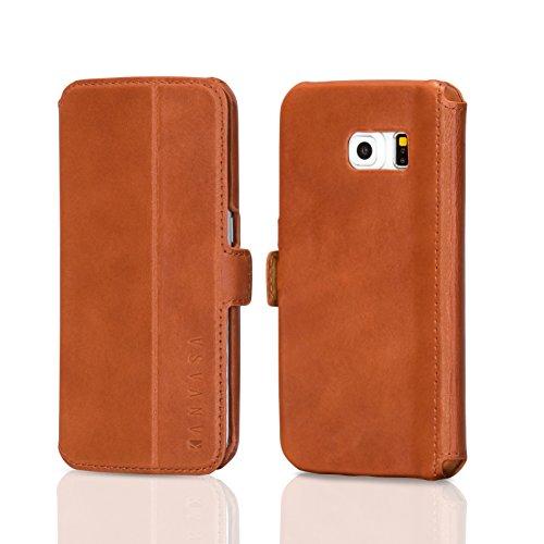 KANVASA Samsung Galaxy S6 Edge Lederhülle Leder Case Ledertasche braun Slim Luxus Echtleder Flip Cover Rindsleder Hülle für Original S6 Edge - idealer Schutz, edles Design, seitlich aufklappbar