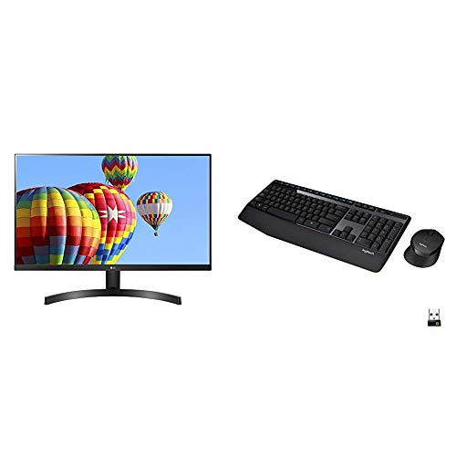 """LG 27MK600M-B 27"""" Full HD IPS Monitor & Logitech MK345 Wireless Combo Full-Sized Keyboard with Palm Rest and Comfortable Right-Handed Mouse - Black"""