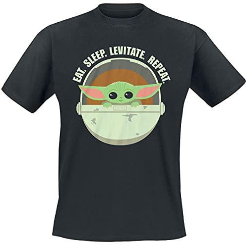 Star Wars The Mandalorian - Eat. Sleep. Levitate. Repeat. - Grogu Hombre Camiseta Negro XL