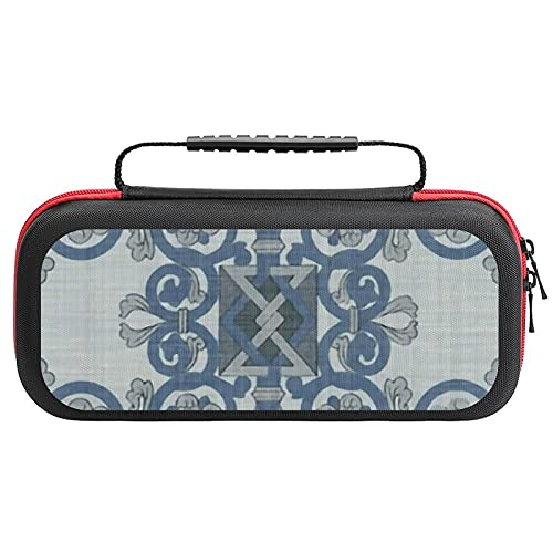 Celtic Knot Blue Linen Personalised Carry Case for Nintendo Switch,Compatible&Protective&Shockproof Hard Shell Storage Case