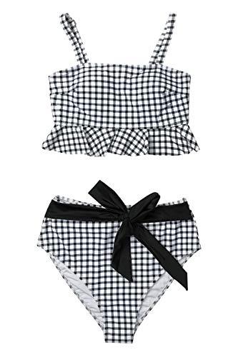 CUPSHE Women's Black White Gingham Swimsuit Ruffles Two Piece Bikini Set, M