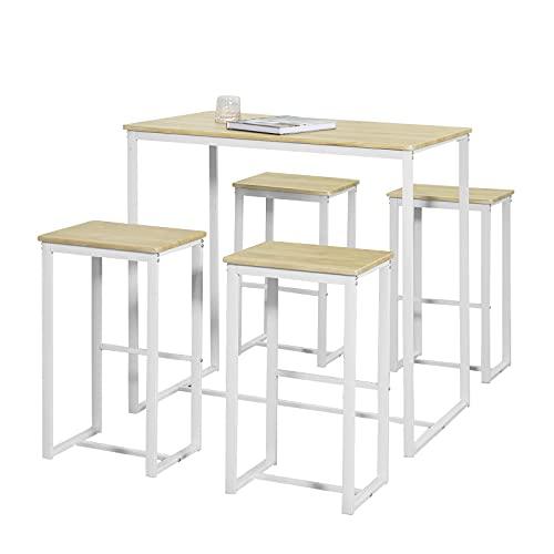 SoBuy OGT15-WN Set Mesa Alta de Bar y 4 Taburetes Muebles Bar Comedor ES (OGT15-WN)