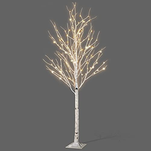 NETTA 6FT Birch Twig Tree With 160 Warm White LED Lights, With Time And 8 Lighting Modes, Indoor Or Outdoor Use-White
