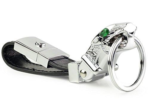DPOB ラグジュアリージャガーレザーキーリング、エレガントなデザインのキーホルダー、3つのキーリング