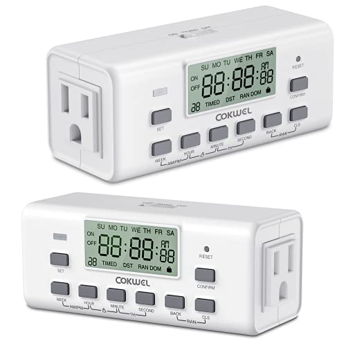 Outlet Timer, COKWEL Digital Timer with Dual Outlets, 7 Day Programmable Indoor Electrical Timer Switch, 10 On/Off Program Setting(2 Pack)