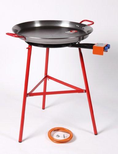 Garcima Mirador Plus Garten Paella Set–60cm Paella Pfanne Stahl poliert/400+ Gasbrenner